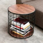 interior unique wireframe end table functional accent piece models walnut platform finished top and bottom cross grained plywood with exposed edges black powder coated steel grid 150x150