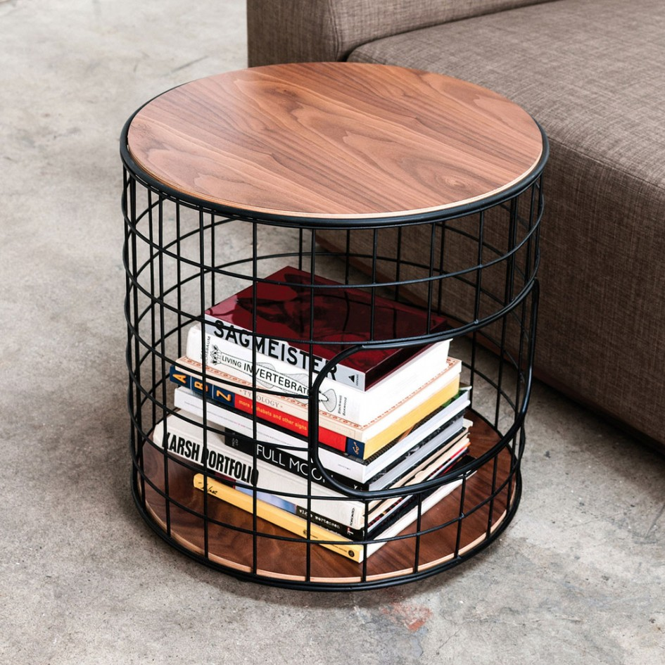 interior unique wireframe end table functional accent piece models walnut platform finished top and bottom cross grained plywood with exposed edges black powder coated steel grid