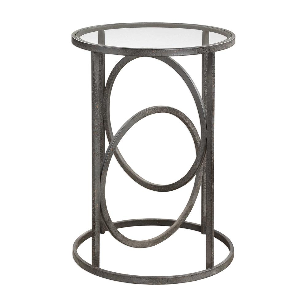 interlocking rings forged iron accent table with glass top country tablecloths living room furniture end tables large garden cover modern bench metal patio umbrella stand teak
