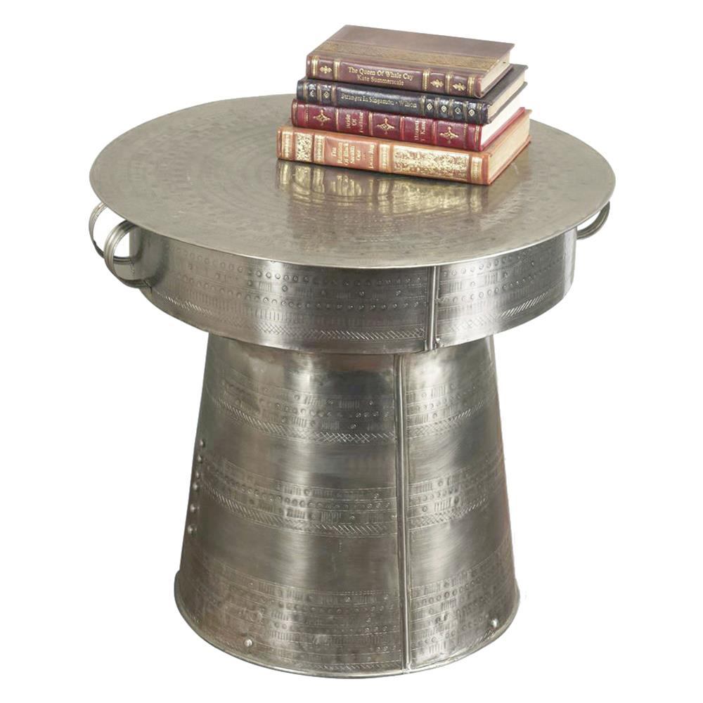 interlude antimo hammered iron industrial drum table inch product copper accent kathy kuo home oriental style lamps small lamp shades round metal nesting tables folding occasional