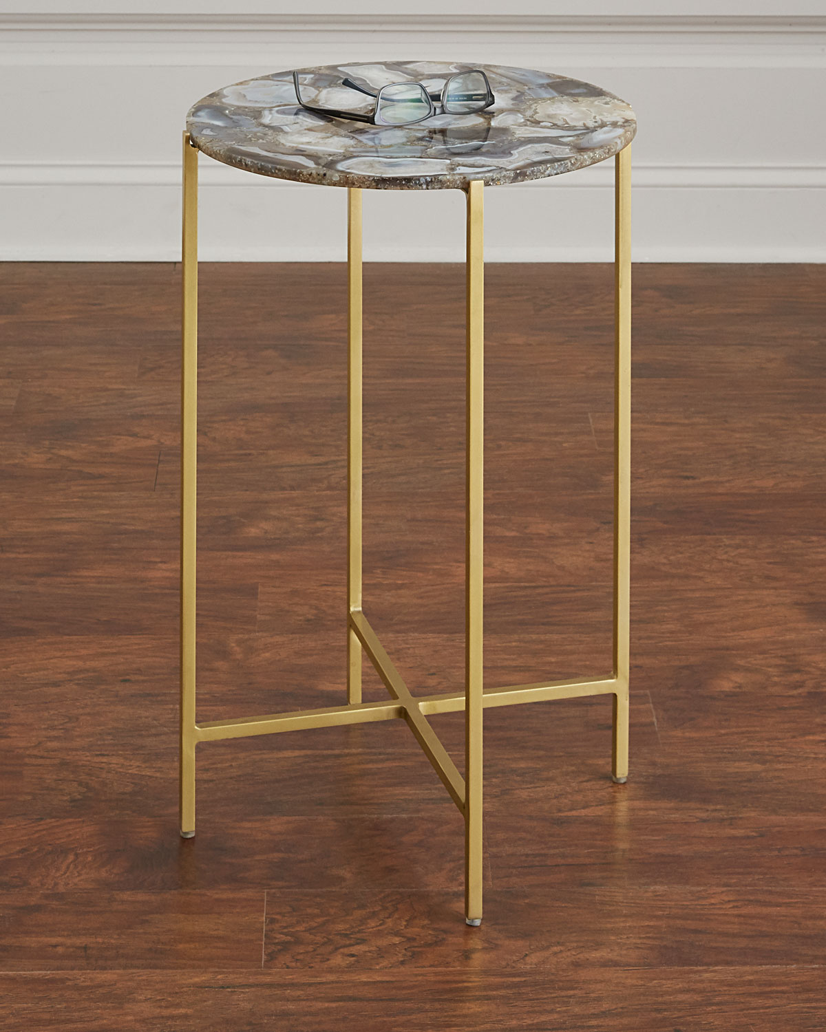 interlude home blinn round agate side table neiman marcus nmhbcsn glass accent end with charging station bedding storage black coffee target jacket hoodie clearance furniture inch