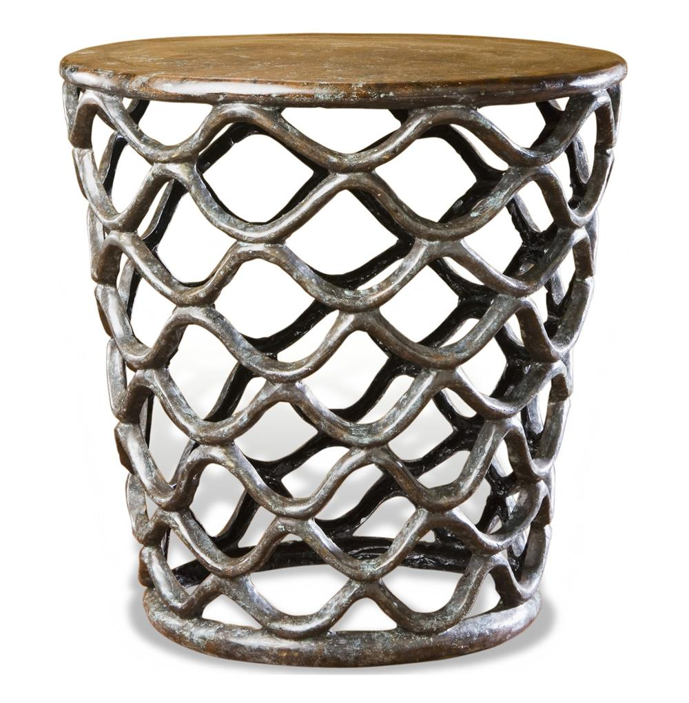 interlude lattice accent table rustic french antique cast brass side product gray kathy kuo home sheesham wood console farm style dining room coffee base prefinished solid