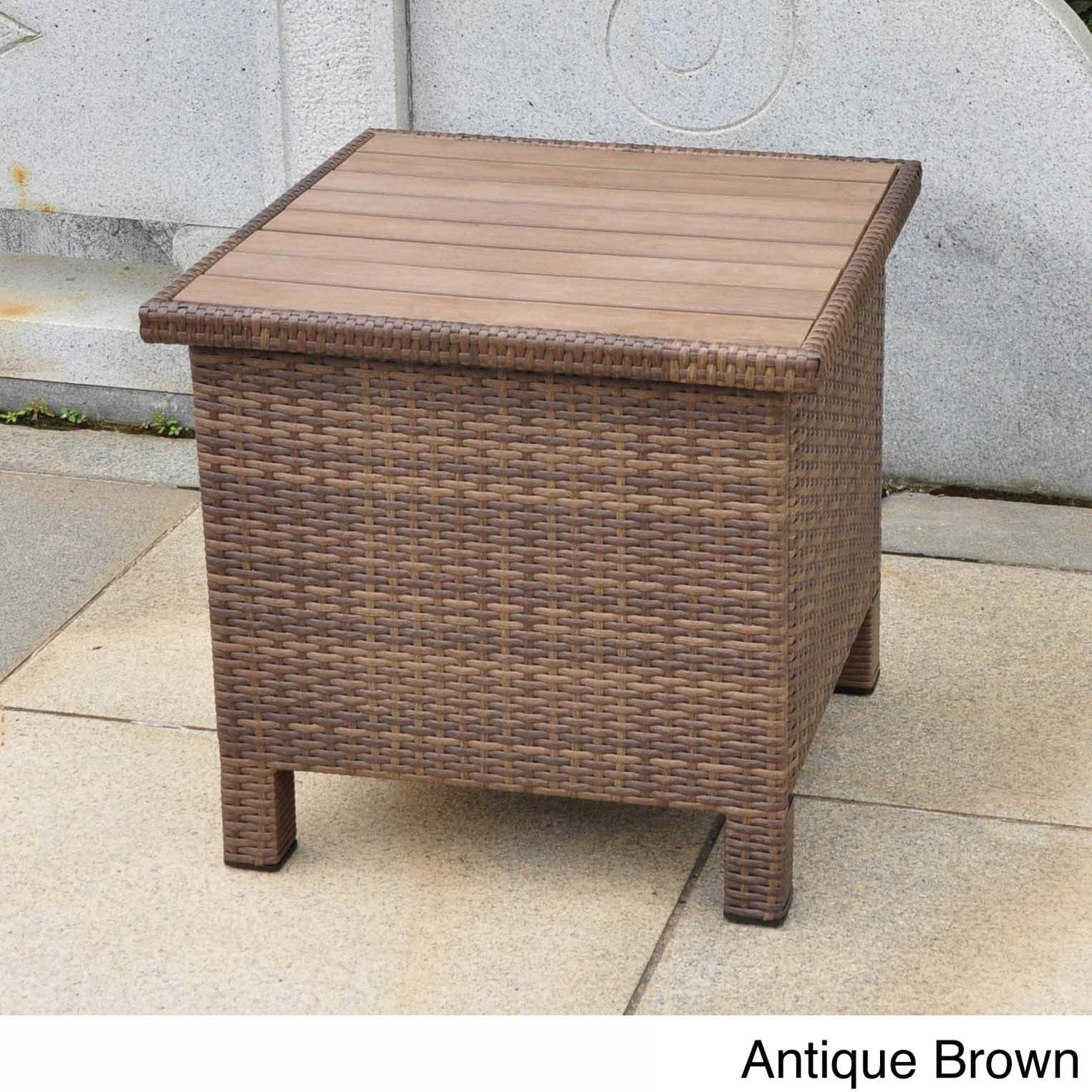 international caravan barcelona contemporary resin wicker aluminum outdoor storage side table with ashley nesting tables safavieh glass coffee dinette sets white furniture purple