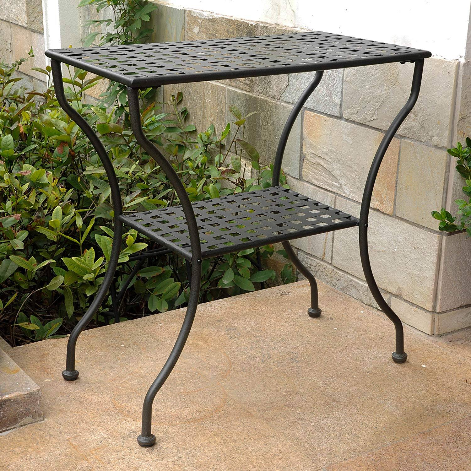 international caravan iron tier patio side wrought accent table antique black tables garden outdoor inch deep console retro designer chairs bedroom sets bathroom caddy white