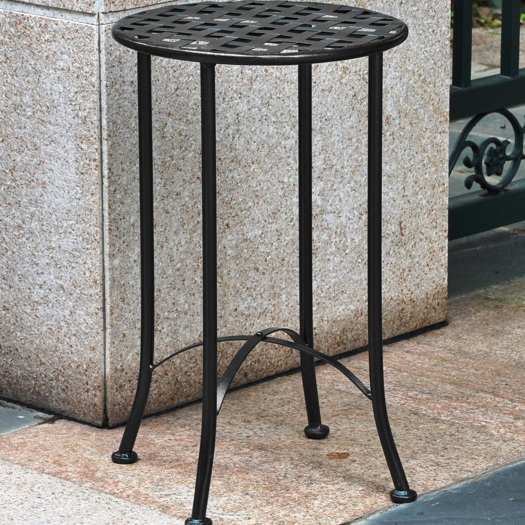 international caravan mandalay inch iron patio side table wrought accent reviews small narrow end black corner xmas runners aspen home furniture metal target outdoor antique with