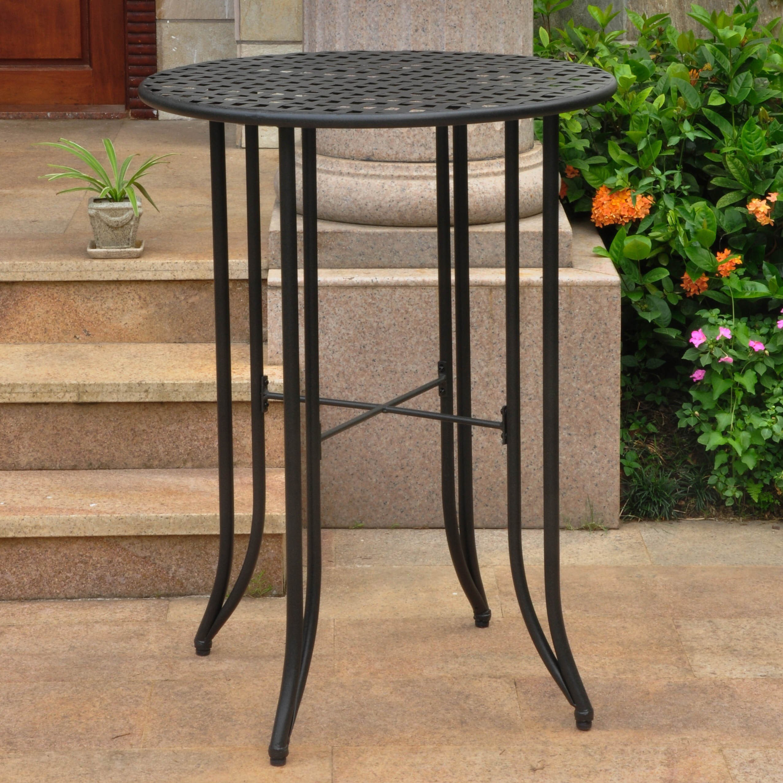 international caravan mandalay outdoor iron bar height table wrought patio accent orange white side end furniture company contemporary trestle dining bathroom caddy mosaic outside