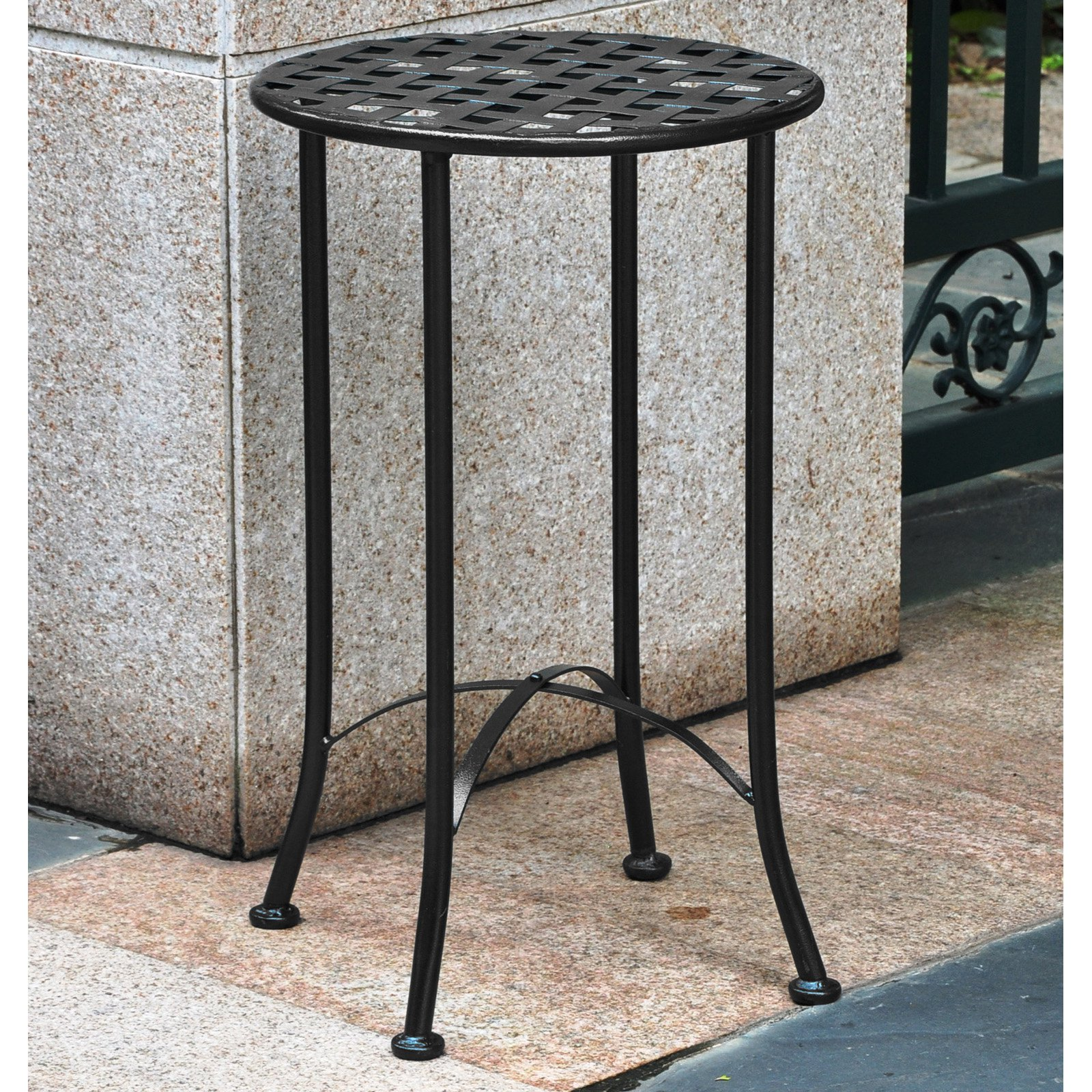 international caravan mandalay round iron metal patio end wrought accent table retro designer furniture ikea storage rack small cherry narrow indoor door mats contemporary trestle