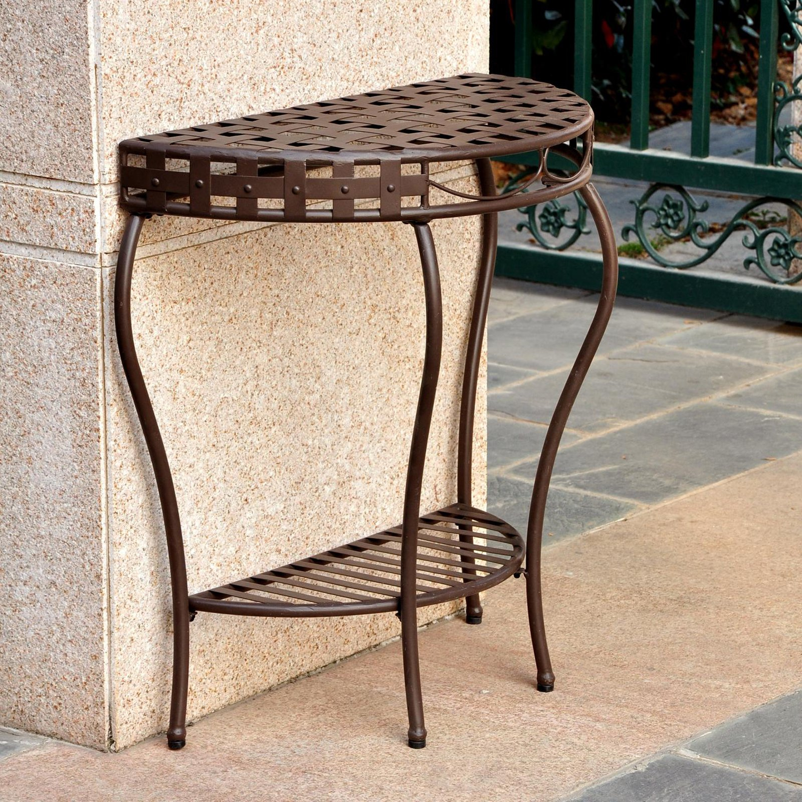 international caravan santa outdoor half moon patio console table accent hobby lobby furniture end tables modern replica christmas cloth set gold legs tablecloth for foot round