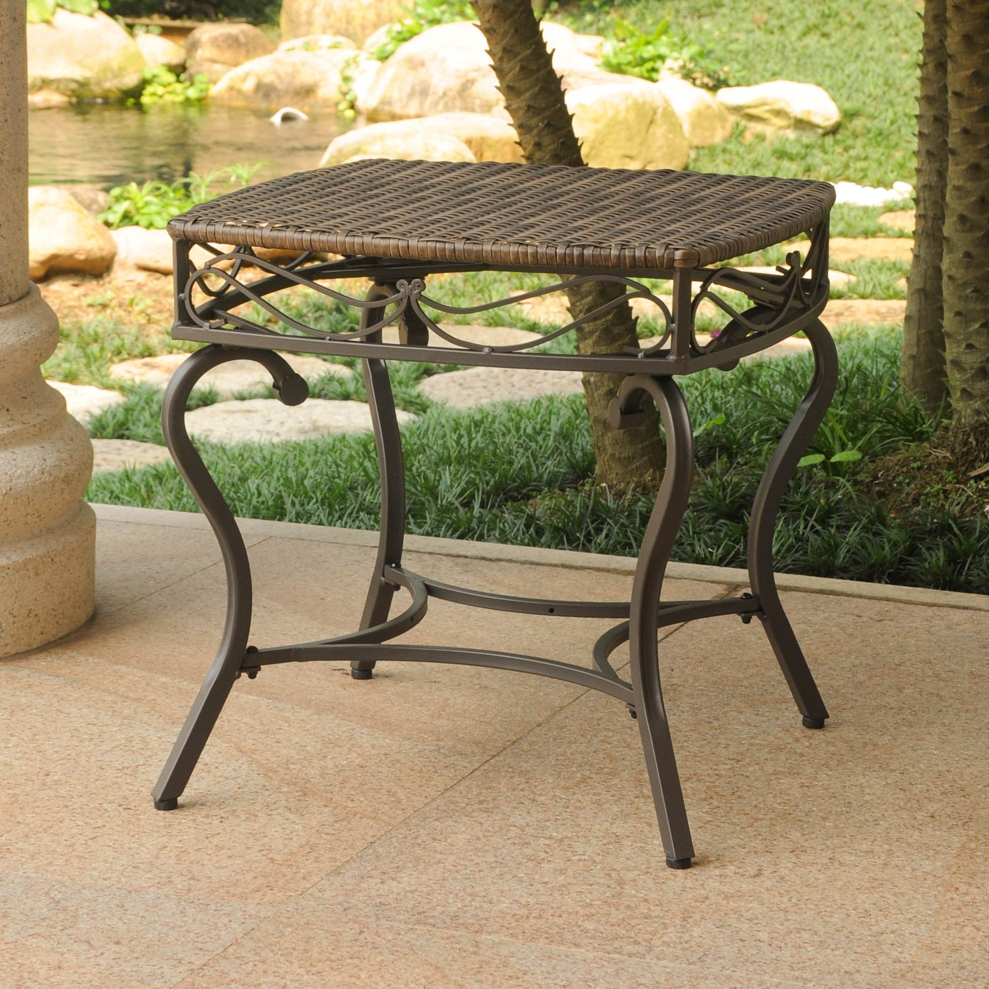 international caravan valencia brown resin wicker outdoor side table free shipping today dorm room furniture gold accent set dining chairs with arms basket drawers marble stone