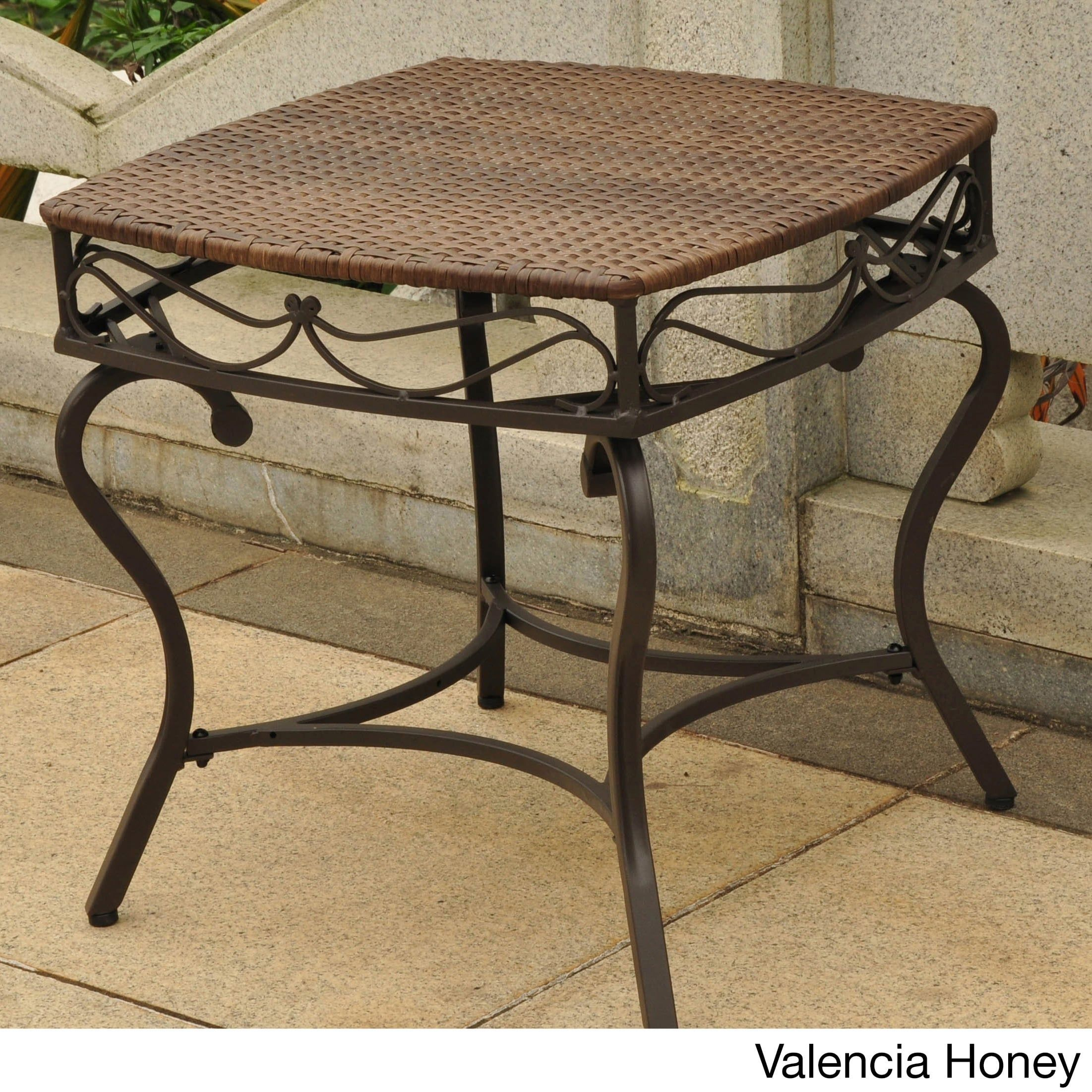 international caravan valencia resin wicker outdoor side table honey red patio victorian style coffee and end tables glass dinette set black accent armless living room chairs