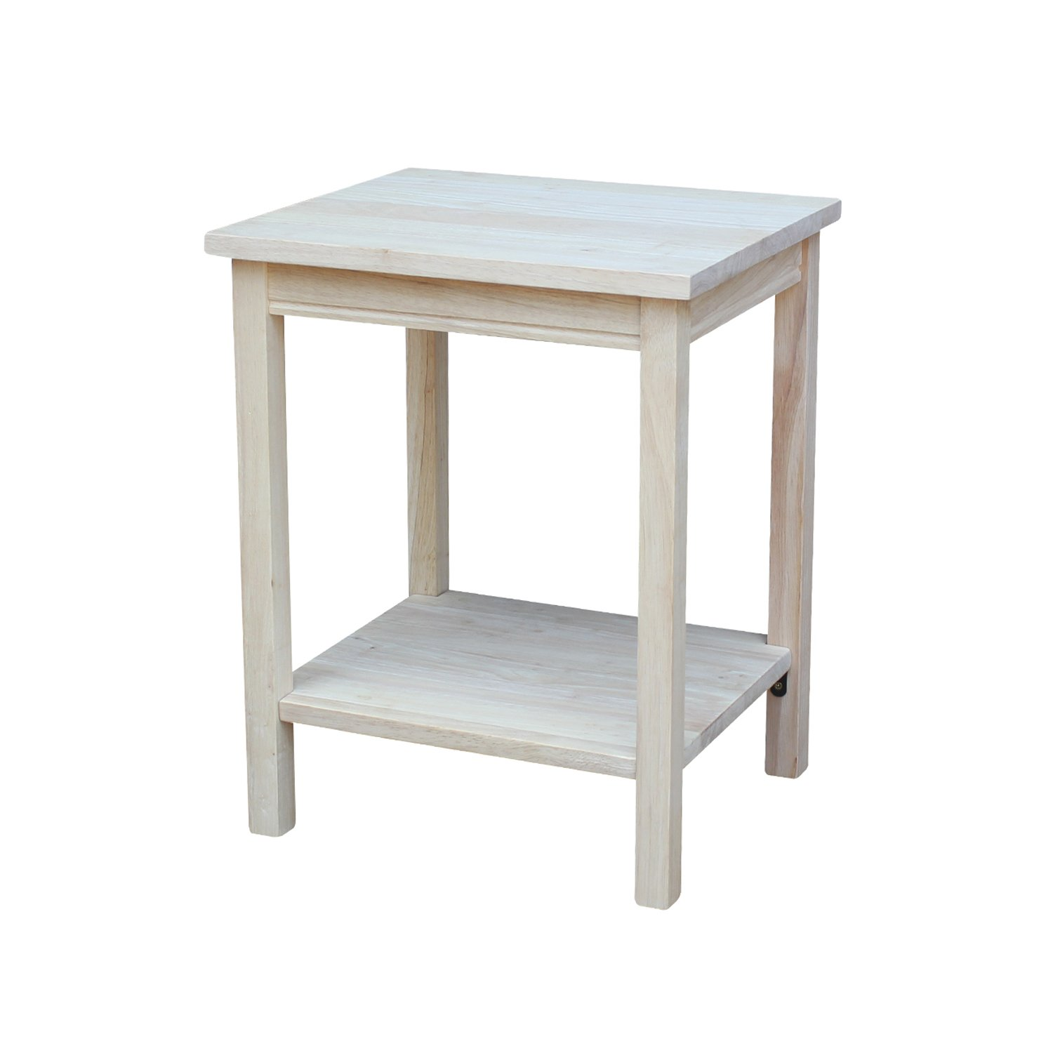 international concepts accent table unfinished grey wood kitchen dining winchester furniture nursery nightstand style patio and chairs with umbrella pottery barn night tables