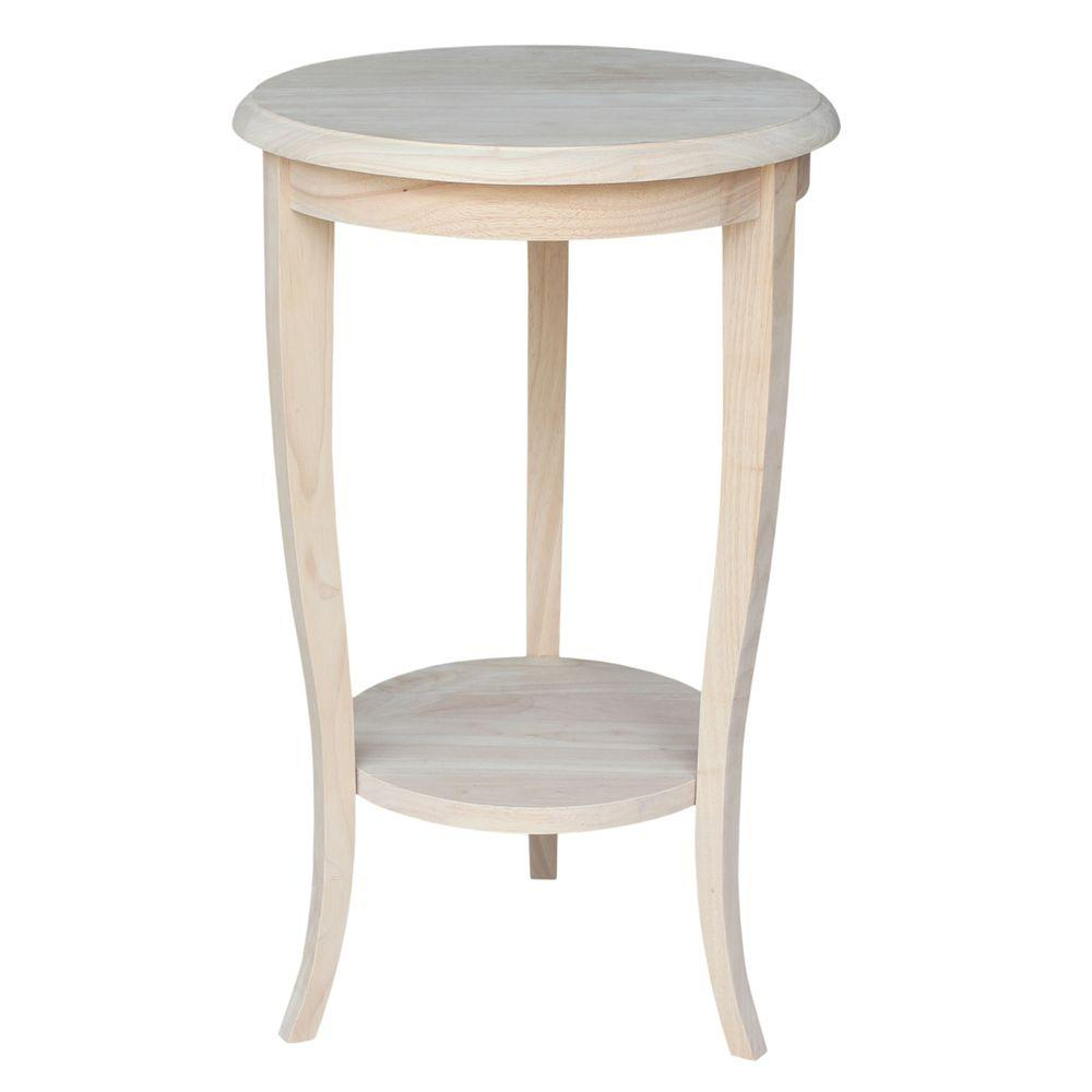 international concepts cambria unfinished end table the wood tables small oval accent high top kitchen man wah furniture solid trestle dining curry company light grey white
