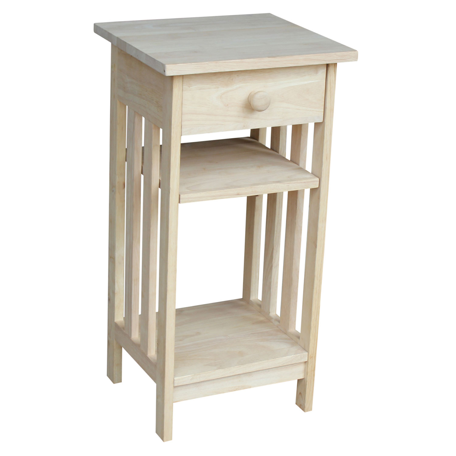 international concepts mission unfinished wood telephone stand with accent table hover zoom small counter height sets folding tray clear lucite end tables shallow hall cupboard