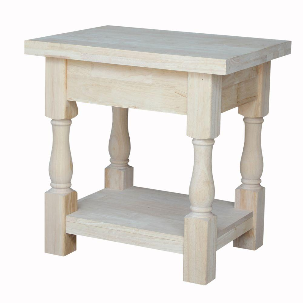 international concepts tuscan unfinished end table the home wood tables accent rectangular corner console keter bar small half circle reclaimed coffee and mosaic patio furniture
