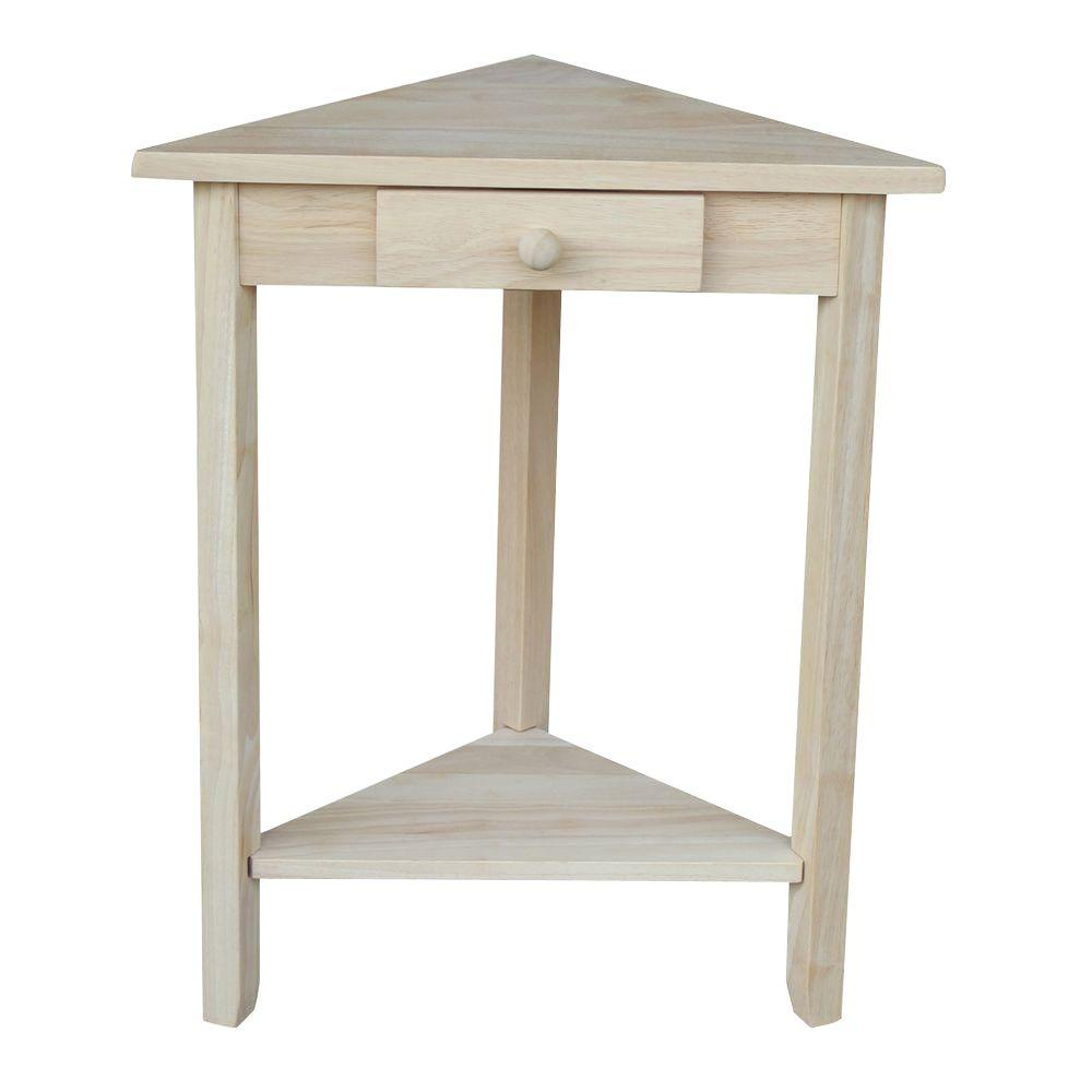 international concepts unfinished storage end table the home tables triangle corner accent small farmhouse and chairs gold marble target wicker furniture carpet threshold strip