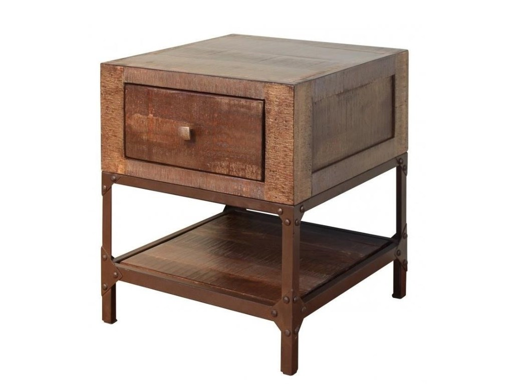 international furniture direct urban gold rustic contemporary end products color wood one drawer accent table threshold goldend with tiffany peacock lamp currey and company cement