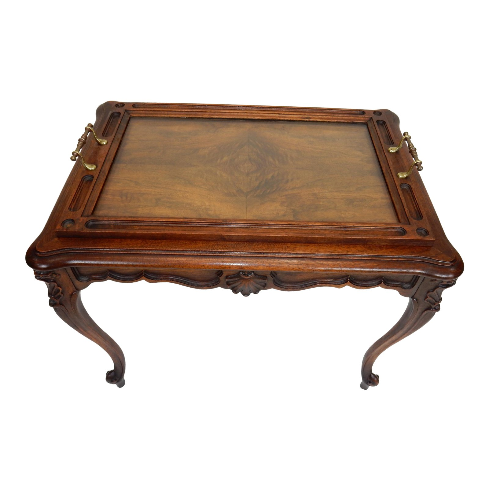 intricately carved walnut french rocco serving table with removable tray accent chairish wicker side glass top antique oak coffee plastic folding high end cocktail tables vintage
