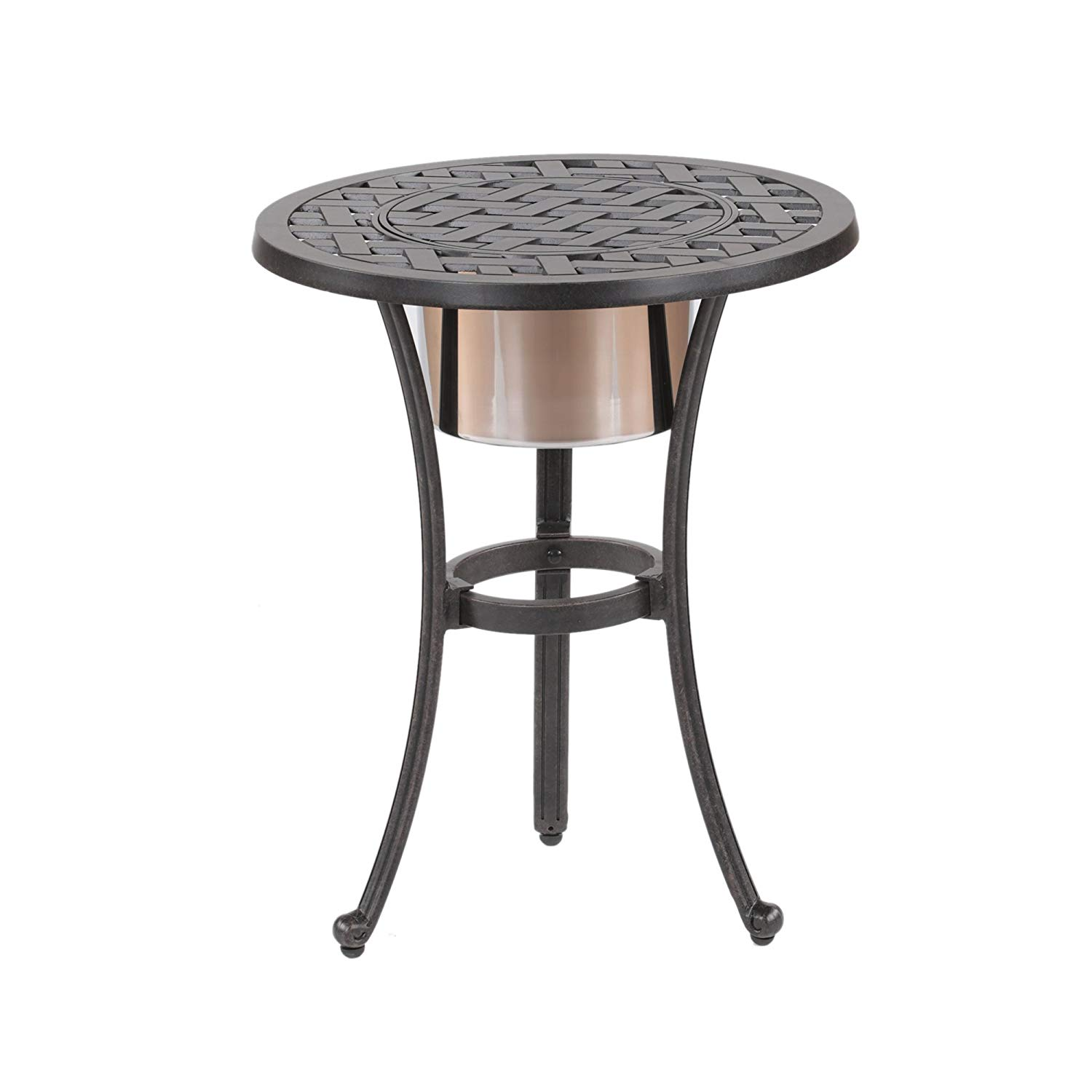 ipatio sparta inch round table with ice bucket outdoor side keep your drinks cool garden quilt modern nest coffee tables target ott end stands for living room console storage