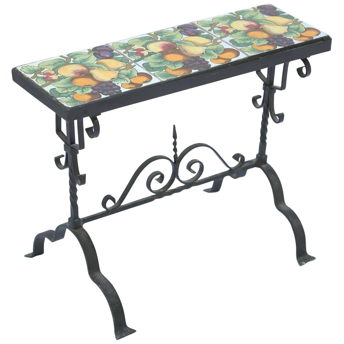 iron accent table bronze cactus vupad tile top ocean wave mosaic black outdoor wicker coffee with glass headboards and white linens target kitchen ginger jar lamps pier one