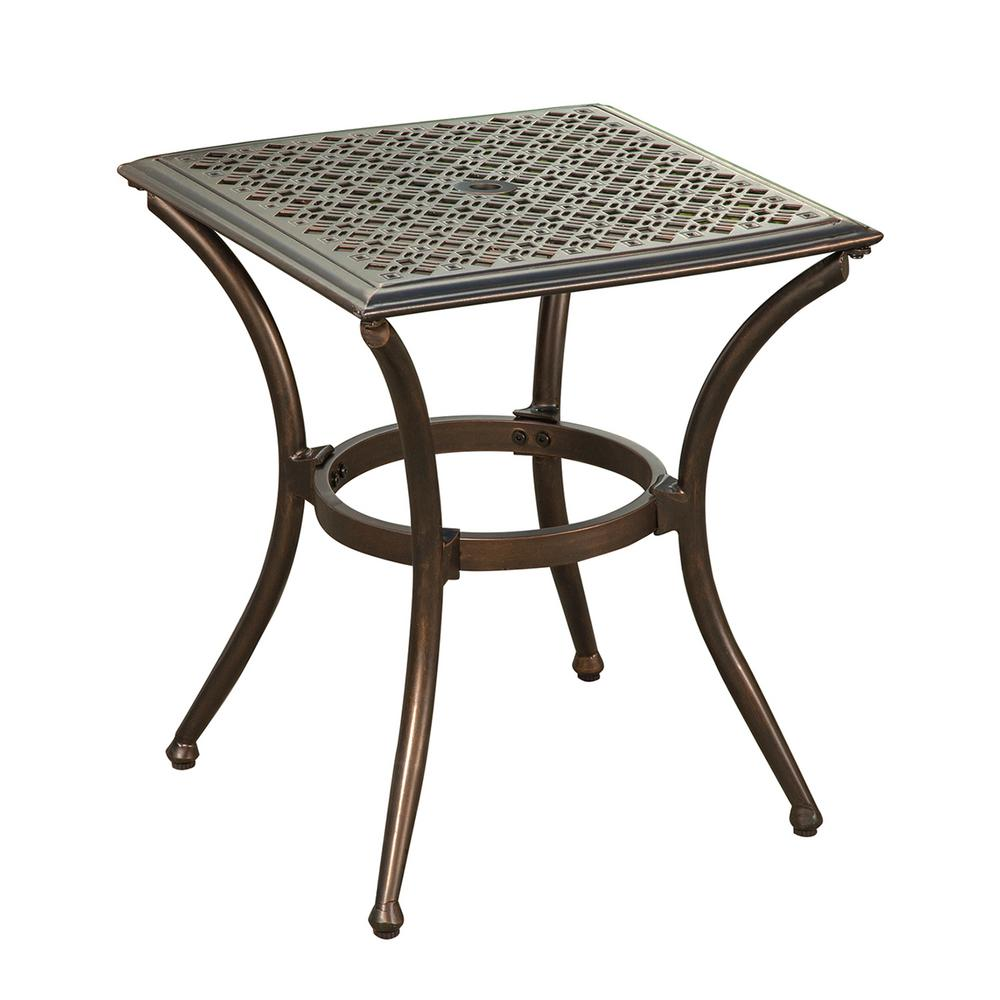 iron outdoor side tables patio the wrought accent table bali bronze metal with feet glides retro designer chairs xmas runners night lamp glass end set inch deep console bathroom