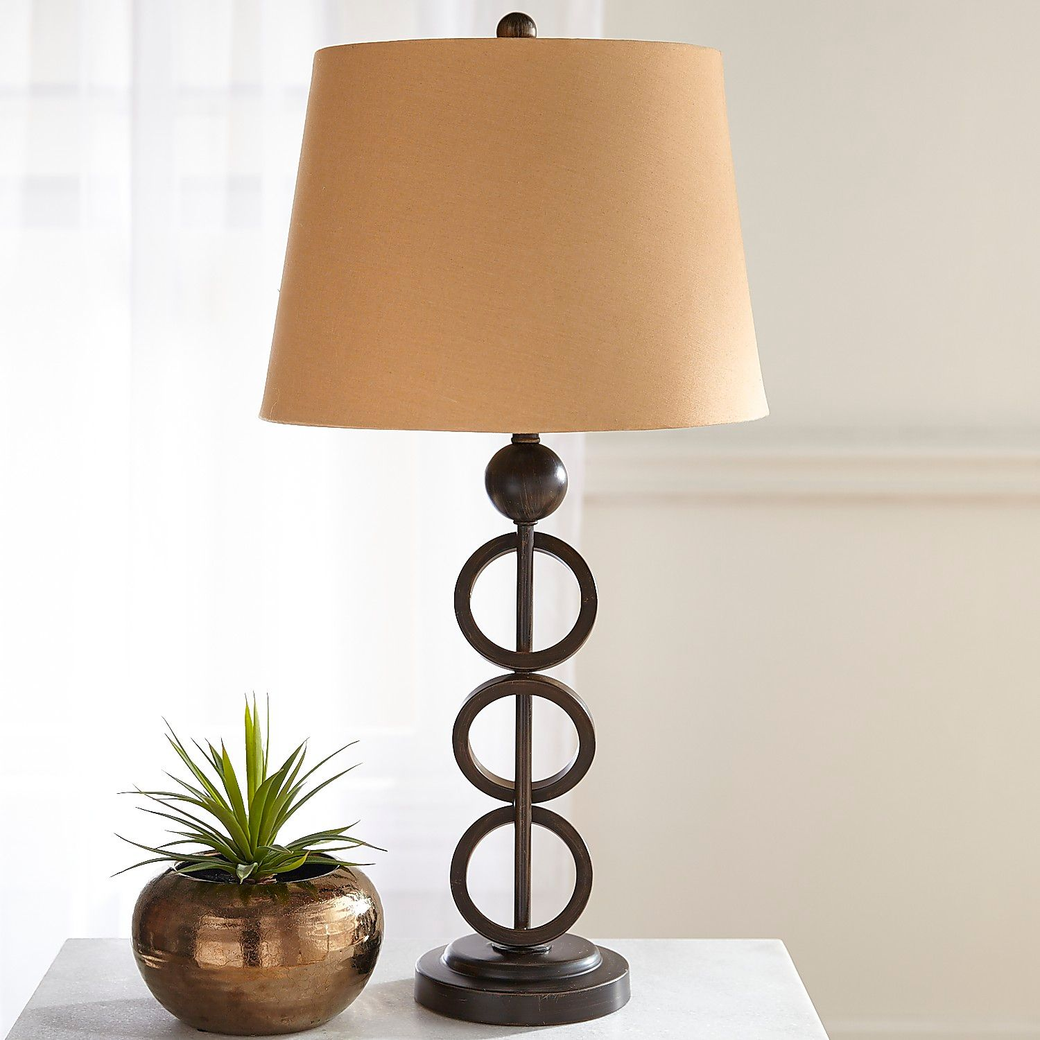 iron rings table lamp pier imports one accent lamps solid wood coffee and end tables ikea storage baskets cool retro furniture purple linens silver metal console pottery barn