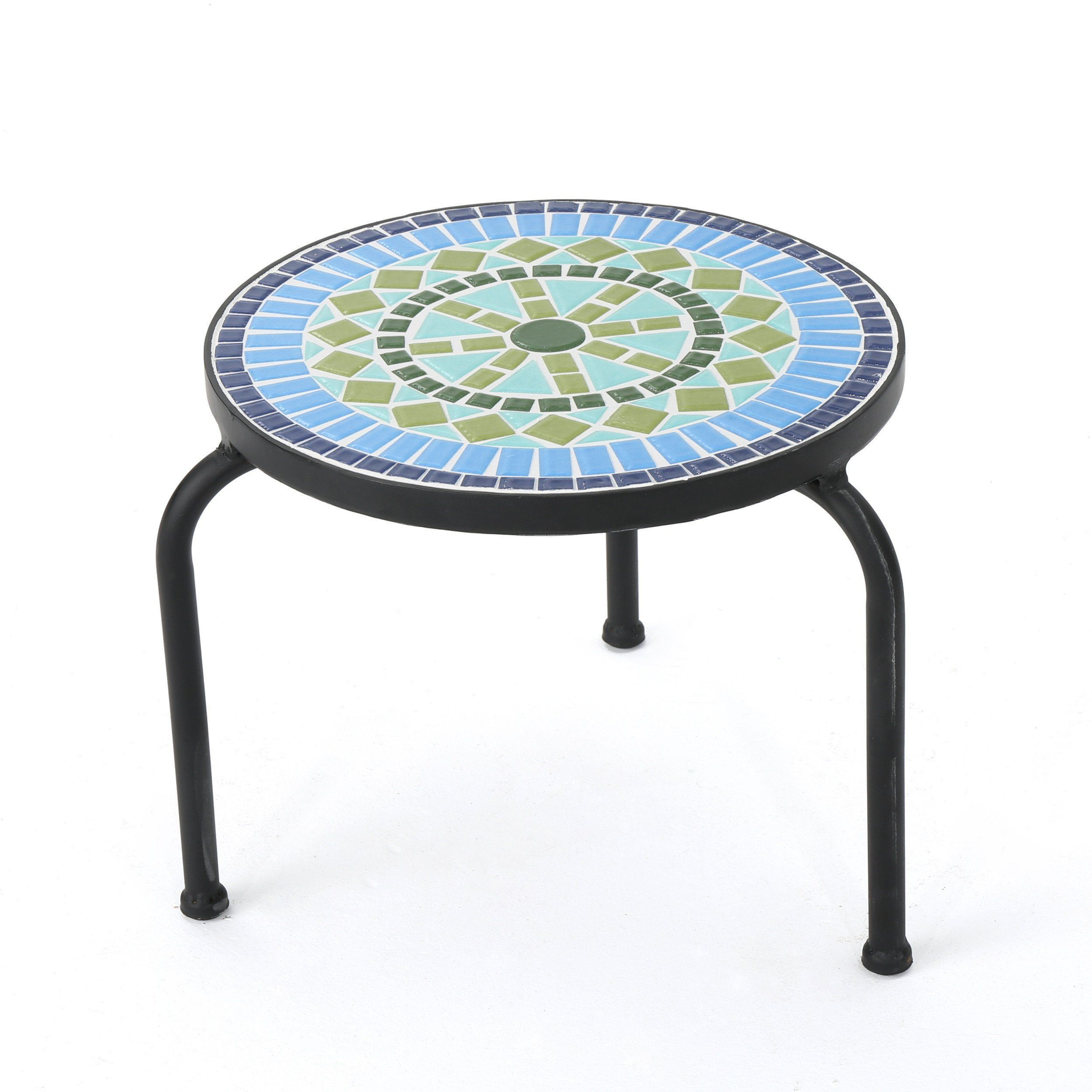 isildur outdoor blue green ceramic tile iron frame side table inch round holiday tablecloth living room sofa beach coffee oak wood next dining furniture winsome accent cherry