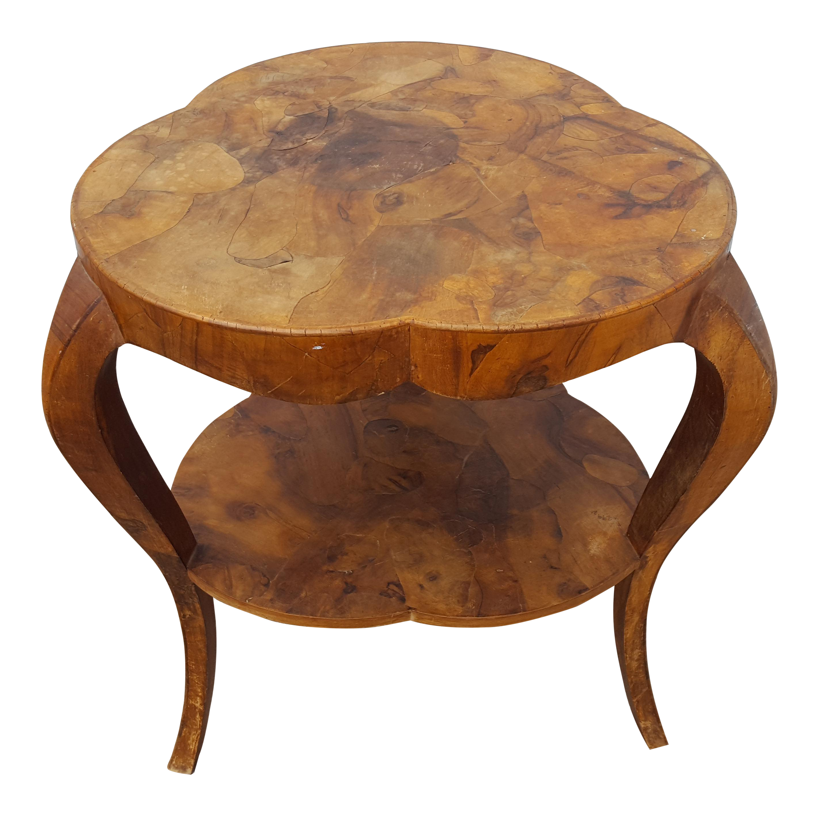 italian oyster burl wood clover side accent table chairish light white crystal lamp battery operated hanging tablecloth for square circular nest tables bar set yellow dragonfly