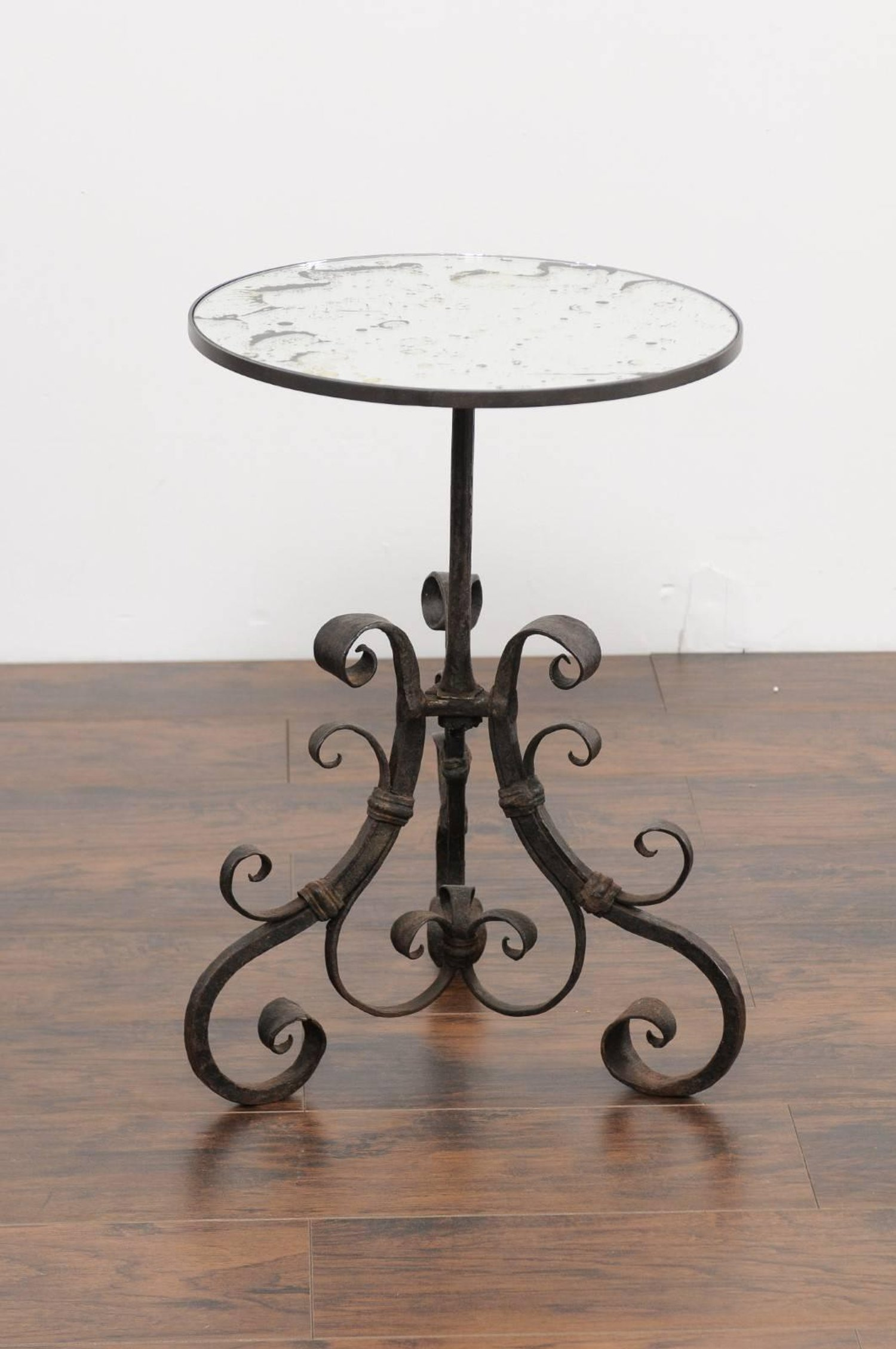 italian wrought iron pedestal side table with antique mirror top abp custom master patio accent circa for futon mattress covers outdoor folding small hallway console black corner