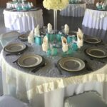 ivory table cloth with organza swirl overlay tiffany accent linens blue coffee mat outdoor patio stools aluminum side cool desk lamps half circle hall threshold teal round antique 150x150