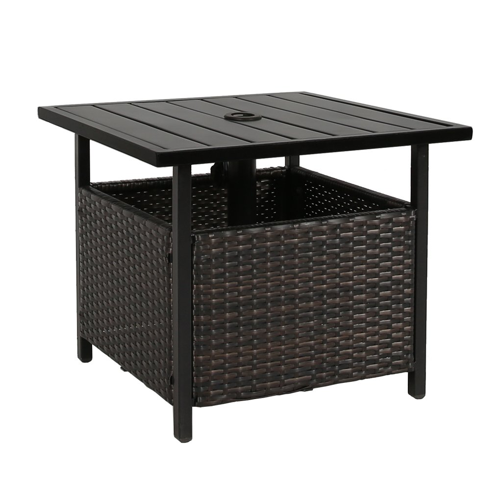 iwicker patio wicker umbrella side table stand accent outdoor bistro with hole garden slim console storage coffee tables toronto inexpensive chairs black ikea metal pedestal base