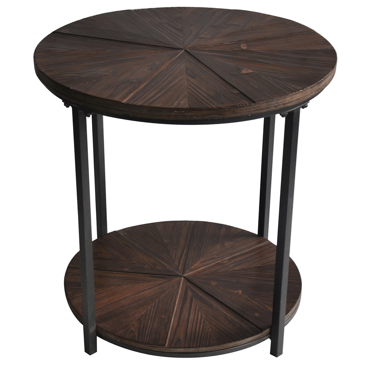 jackson round metal and rustic wood end table pedestal lamp small accent tables under sofa pottery barn desk outdoor farmhouse ashley home furniture clearance center shoe lamps