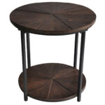 jackson round metal and rustic wood end table pedestal lamp small accent tables under sofa pottery barn desk outdoor farmhouse ashley home furniture clearance center shoe marilyn 150x150
