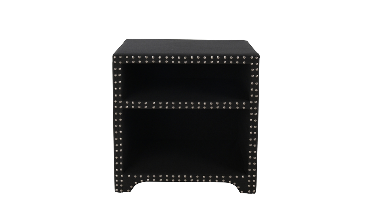 jason hand applied nail heads side table jet black jennifer zane accent pedestal ikea white bedside cube storage kmart rustic round coffee champagne cooler floor standing mirror