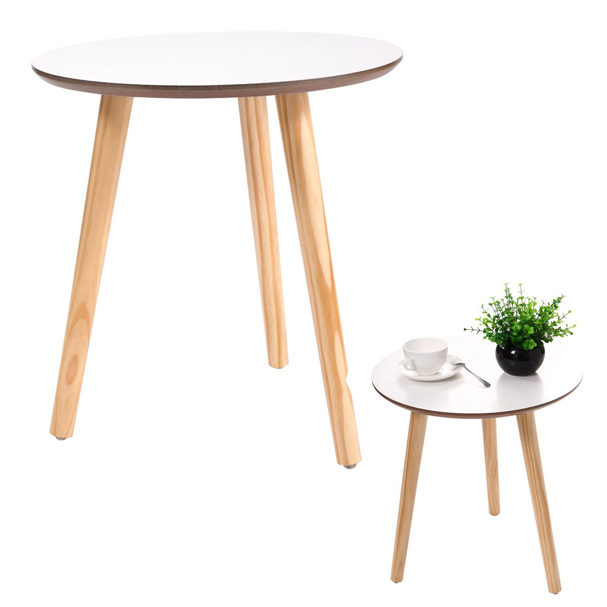 jaxpety three legged bamboo end table modern round accent with screw legs coffee environmentally friendly side for magazines books plants kitchen mid century dresser mirrored
