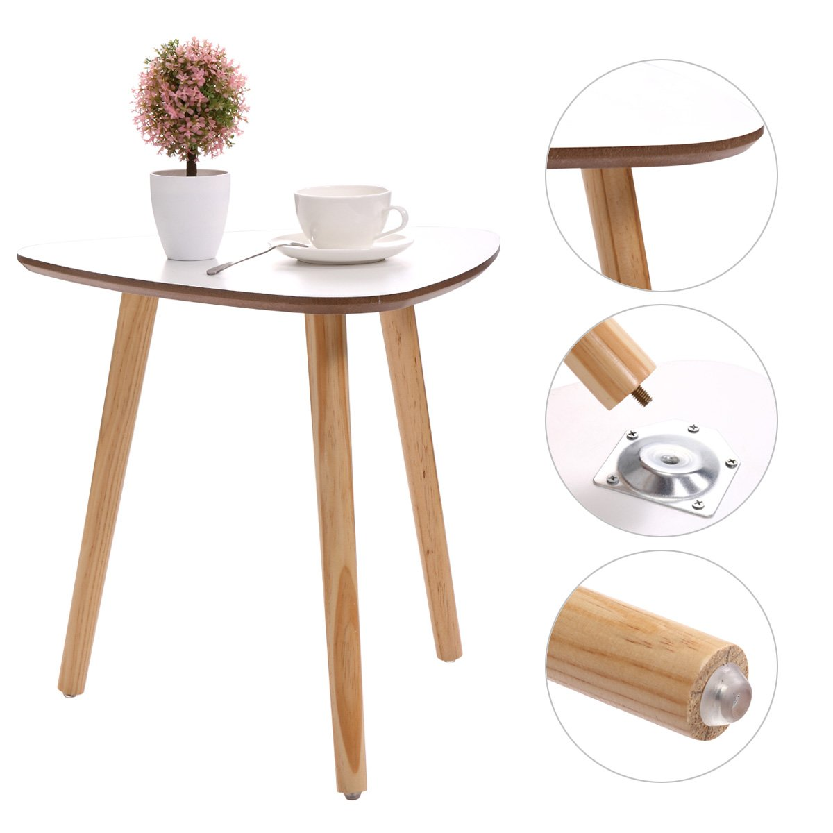 jaxpety three legged bamboo end table modern triangle round accent with screw legs coffee real furniture environmentally friendly side for magazines mid century dresser modular