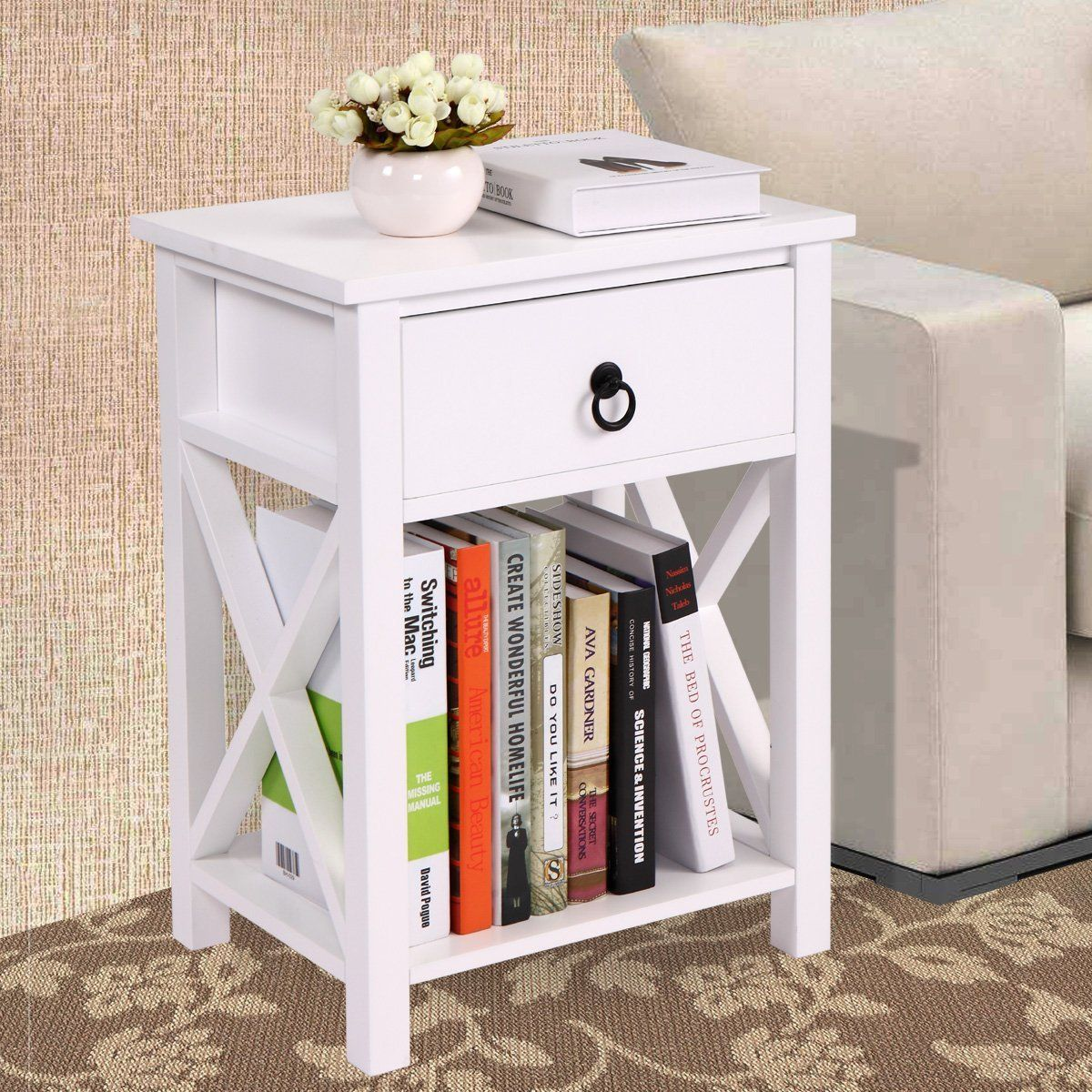 jaxpety white finish design side end table night stand storage kenzie accent shelf with bin half round top antique telephone square nesting tables drawer dishwasher patio chair
