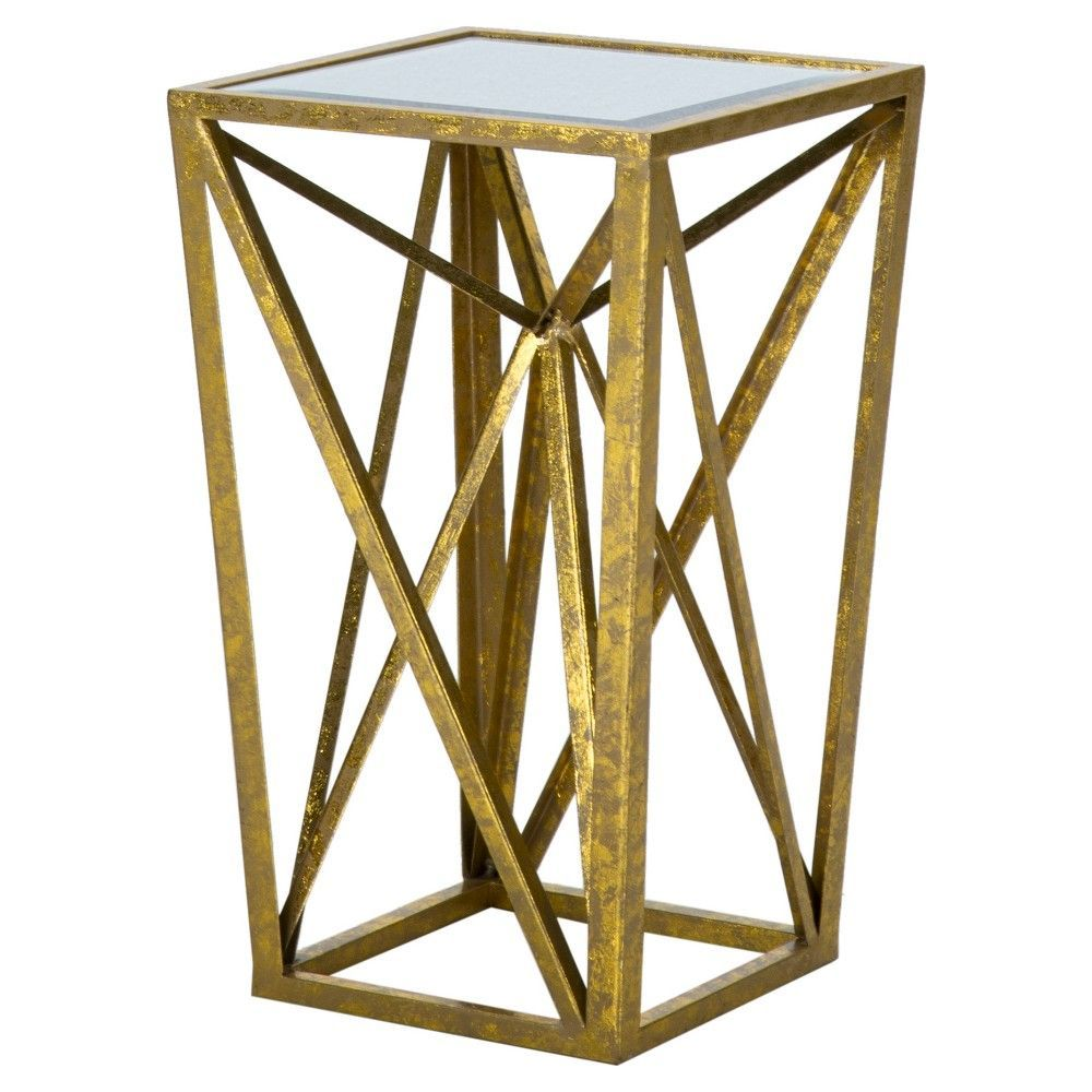 jaye angular mirror accent table gold bright products mirrored glass narrow nightstand with drawers round marble top bistro the outdoor furniture counter height dining room sets