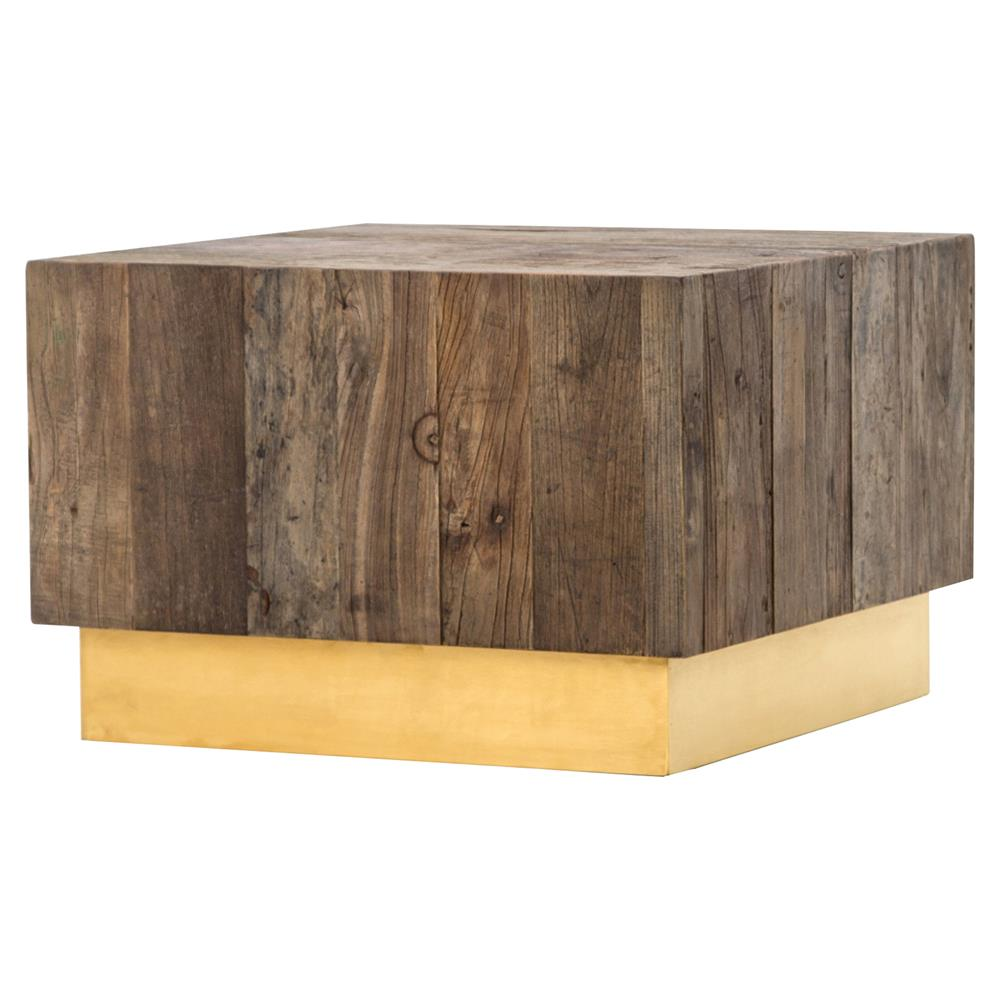 jensen modern rustic reclaimed wood gold square bunching accent table product block kathy kuo home small hall extra tall lamps glass coffee vinyl floor edge trim quilted runners