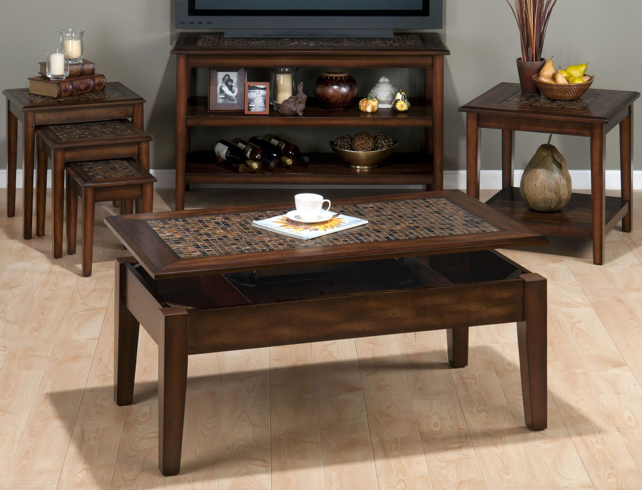 jofran baroque brown mosaic tile inlay lift top cocktail table occ showing accent media gallery vintage metal small battery operated lamps round iron coffee carpet trim dining