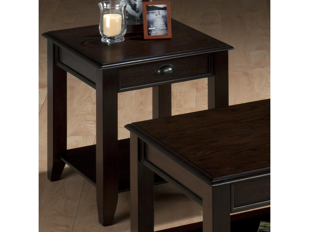 jofran bartley oak casual end table with one drawer and shelf products color accent zak fine furniture nesting tables glass dining room sets target industrial coffee inexpensive