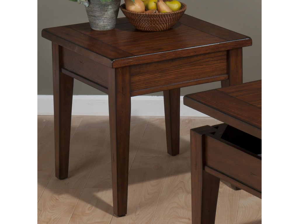 jofran dunbar oak casual styled end table with veneers rotmans products color accent oakend wicker side indoor tiffany peacock lamp tablecloth for inch square backyard and chairs
