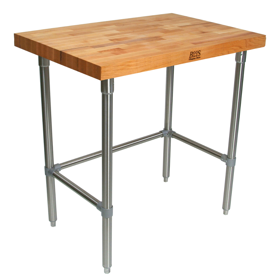 john boos butcher block table kitchen tables tnb accent commercial blended maple baker stainless steel base small round coffee target nesting cocktail drawer file cabinet autumn