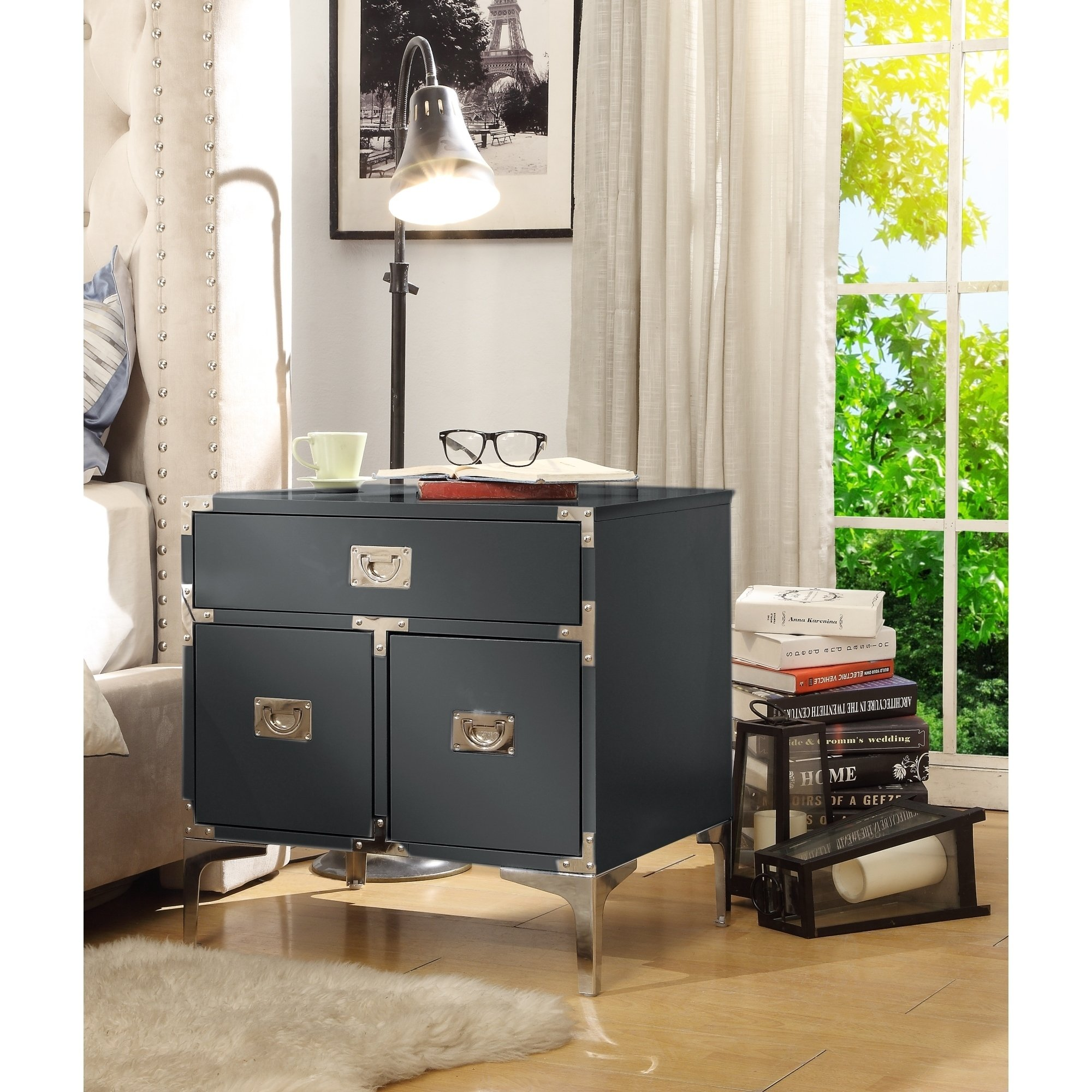 joliet wood lacquer chrome table accent nightstand mdf drawers free shipping today patio sofa clearance teal red bedside lamps long skinny astoria grand bedroom furniture two