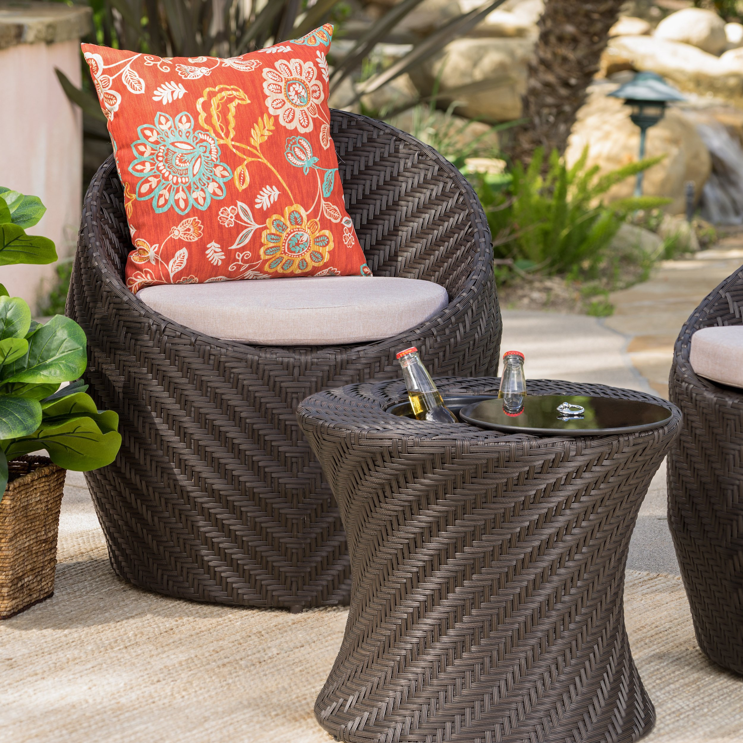 jolla outdoor wicker accent table with ice bucket christopher knight home free shipping today bar height dining contemporary patio furniture vinyl floor door strip building legs