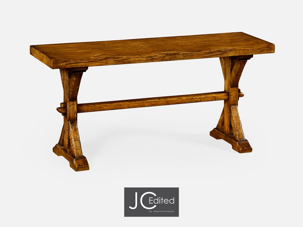 jonathan charles dining room narrow solid country walnut topped cfw eugene accent table bench nautical pole lamps west elm mattress high top set kitchen wine rack round industrial
