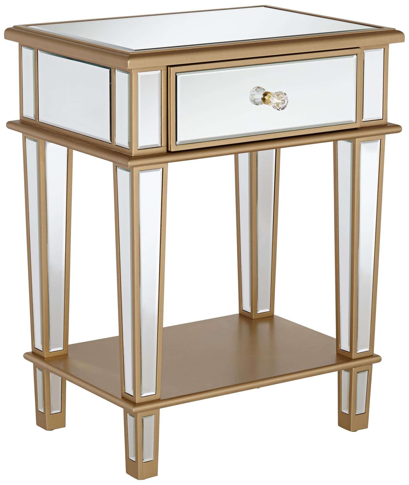 joslyn drawer gold mirrored end table apartment accessories accent with small battery powered lamps book stand vintage round oak champagne furniture white and silver coffee unique