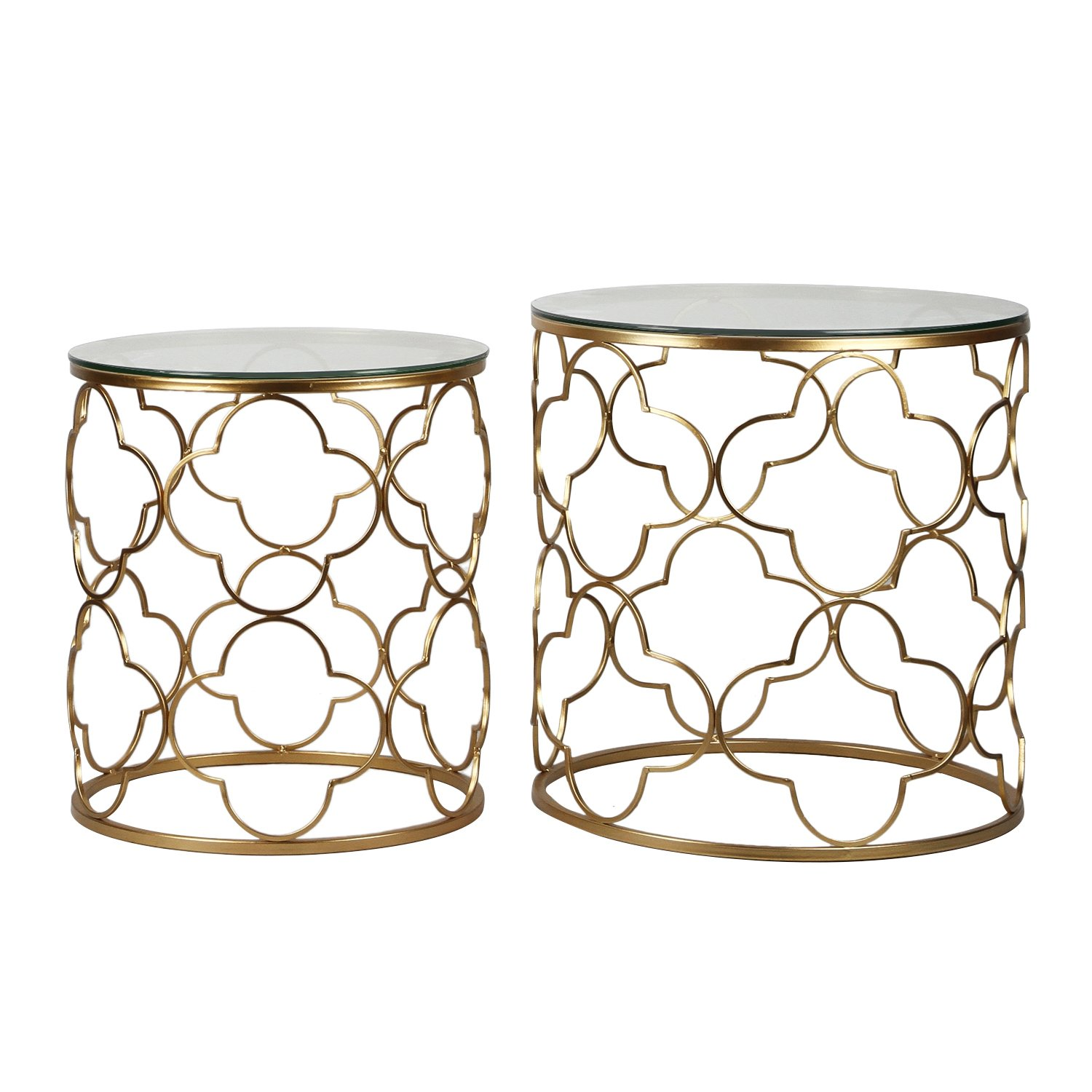 joveco gold end table with glass top decorative quatrefoil accent metal framework best for living room side patio garden drum stool cover small dark wood console wall white round