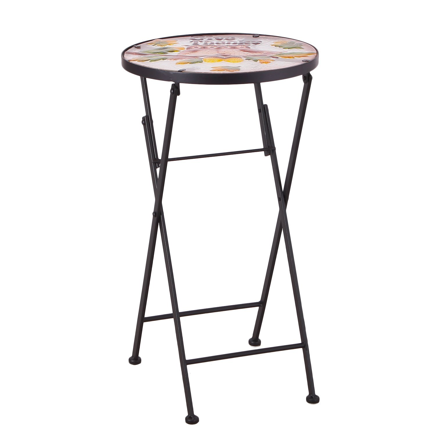 joveco hand painted style multicolor artscape accent table plant stand glass top round side foldable owl garden outdoor microwave target farmhouse coffee metal legs concealment