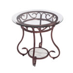 joveco red bronze metal frame round end table with tempered glass accent top drum hampton bay furniture website gold legs inch square tablecloth cherry mission patio umbrella 150x150