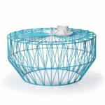 joveco round metal iron wire structure coffee table sofa adeco accent starburst end side sky blue basket with triangle pattern light all modern plastic patio furniture seating and 150x150